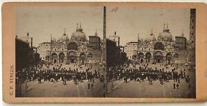 Italia-Venezia-Place-Chiamato-Fotografia-C-P-Stereo-Vintage-Albumina-c1860