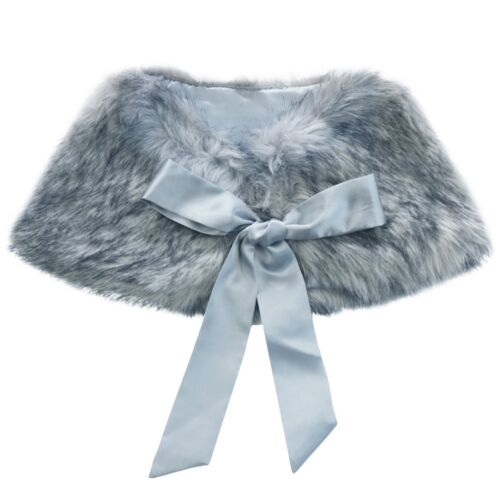 Girls Kids Warm Winter Shawl Cape Bridal Jacket Wrap Faux Fur Shrug Bolero Coat