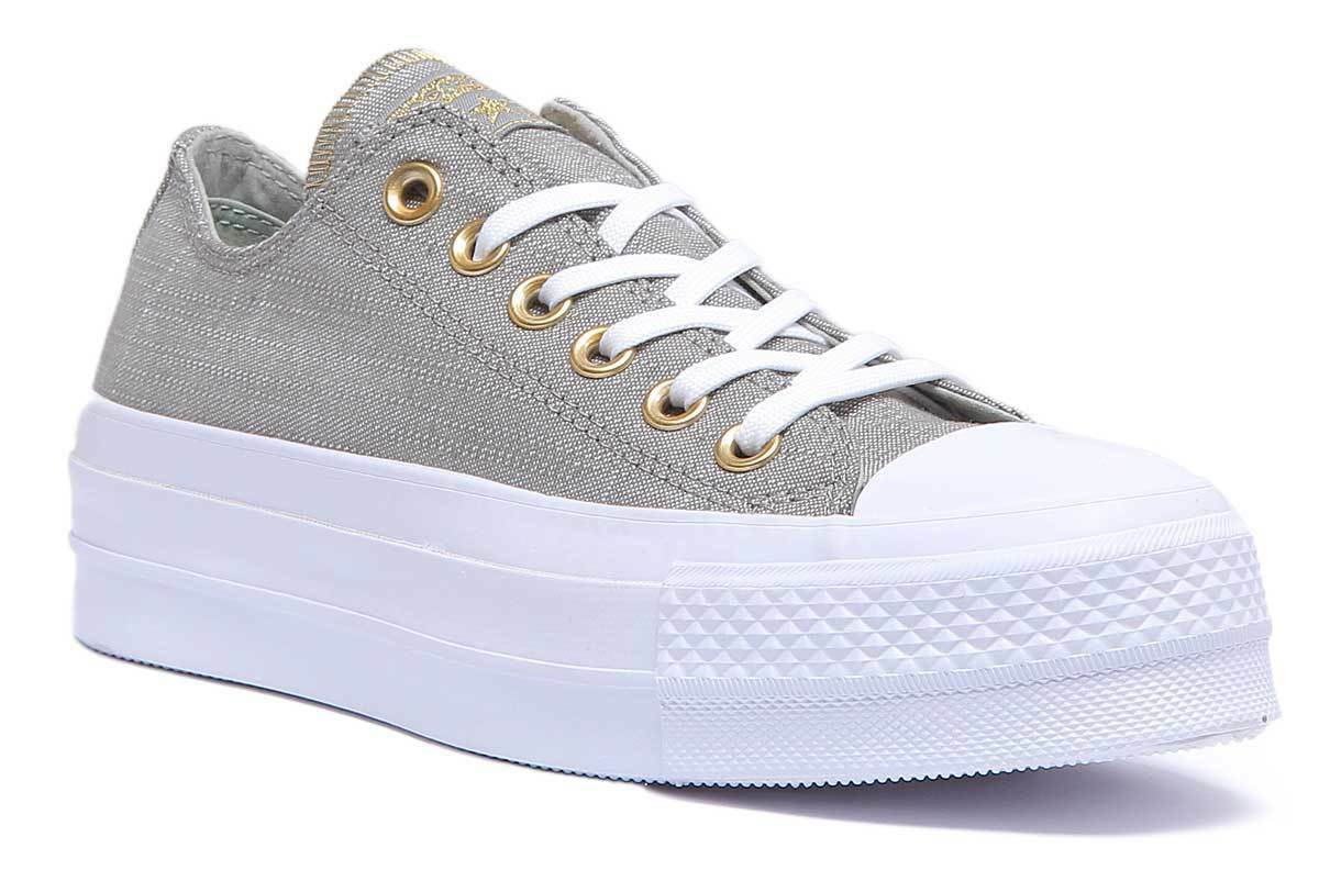Converse Chuck Taylor All Star Ox Lift Platform Women Canvas Olive White Platfor