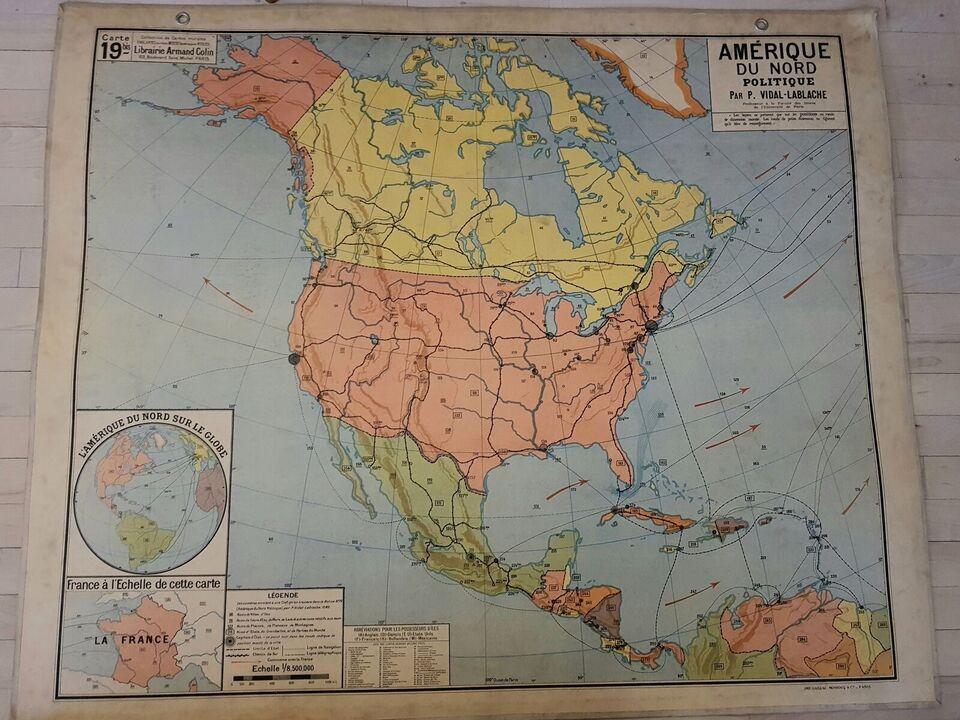 Landkort, Fransk skolelandkort fra 1950'erne