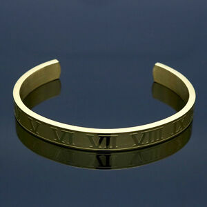 Mens-Womens-Stainless-Steel-6mm-8mm-Roman-Numerals-Cuff-Bangle-Bracelet-B304