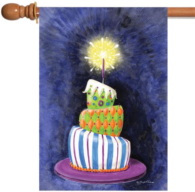 Toland Home Garden Sparkling Birthday Present Cake 28 X 40 Inch