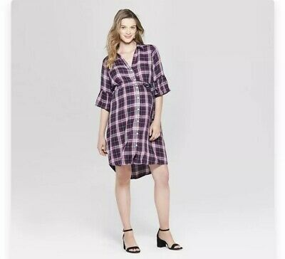 Contemplative women's Isabel Maternity By Ingrid & Isabel Bell Sleeve Plaid Dress Small New Fine Workmanship Clothing, Shoes & Accessories