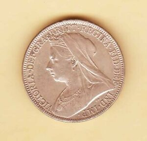 England-Queen-VICTORIA-1900-One-Florin-Two-shillings-Silver