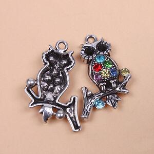 5x-Adorable-Vintage-Silver-Alloy-Colorful-Rhinestone-Owl-Pendants-Beading-LC
