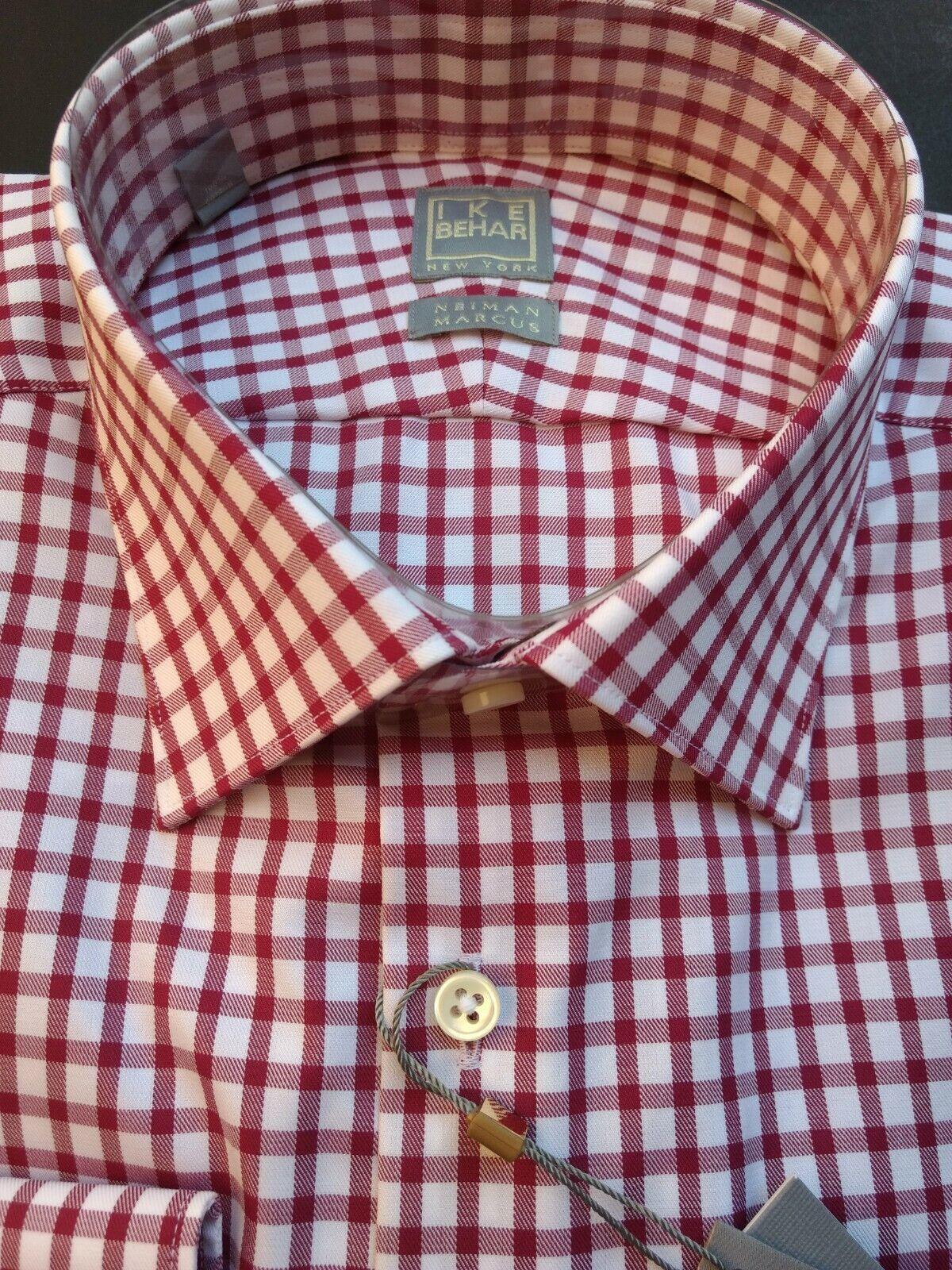 gold LABEL Ike Behar Neiman Marcus Burgundy Red Shirt 16 1 2 Slim Fit 34 35