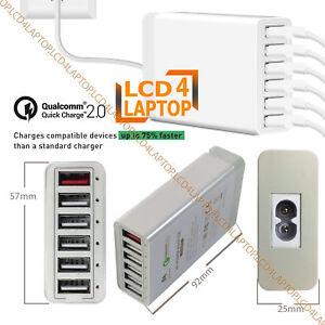 60-W-Multi-ports-USB-6-Qc-2-0-Rapide-AC-Power-Adaptateur-Chargeur-pour-iPhones-et-iPads