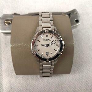 Bulova-Diamond-Women-039-s-Quartz-Watch-Analogue-Silver-Stainless-Steel-Strap-96W205