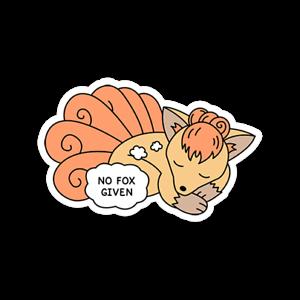 Glossy Vulpix No Fox Given Sticker No F*cks Given Fox Pikachu Pokemon