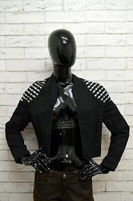 Giubbino Mondi Donna Taglia Size 38 Giubbotto Giacca Jacket Woman Lino Nero Ultimo Stile