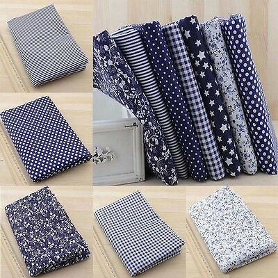 "100% Cotton 7 Assorted Pre Cut Charm 10"" Squares Quilt Fabric Blue DIY New"