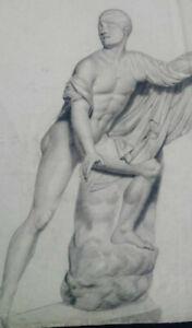 Rare grand dessin nu masculin XIXème étude après l'antique étude académique