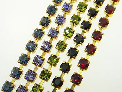 Austrian Crystal Rhinestone Chain 4mm (32pp) Classic Colors 3 Feet