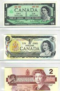 Canada-1967-1973-1986-Set-of-3-Crisp-UNC-Uncirculated-1-amp-2-Bills