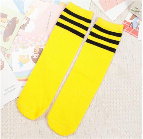 Baby Boys Girls Toddler Kids Knee High Length Cotton Strip School Sport Sock SE