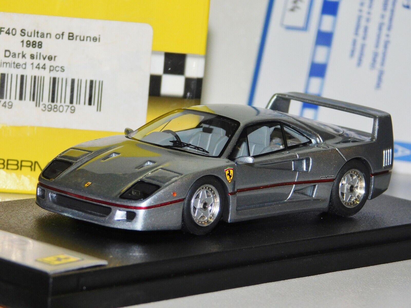 Ferrari F40 1988 Oscuro Plateado Brunei sultán Lim. BBR BG336 1 43