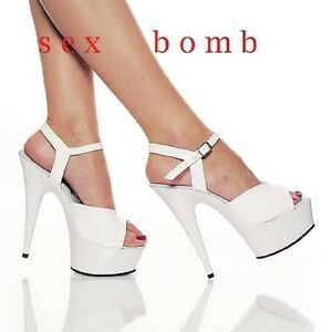SEXY sandali BIANCHI con cinturino plateau tacco 15 DAL 35 AL 44 fashion GLAMOUR