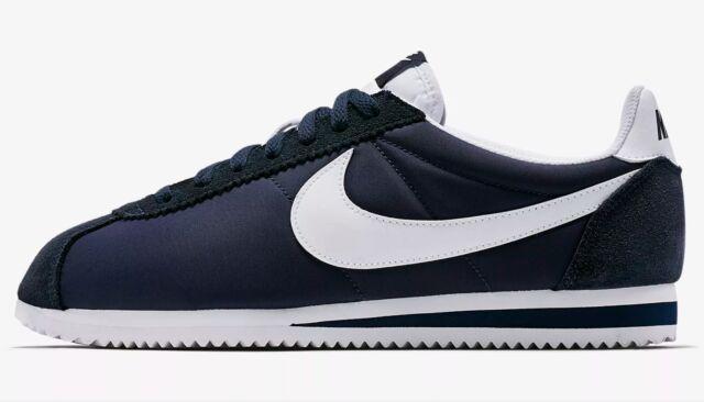 Nike Classic Cortez Nylon Mens 807472,410 Obsidian White Running Shoes Size  8