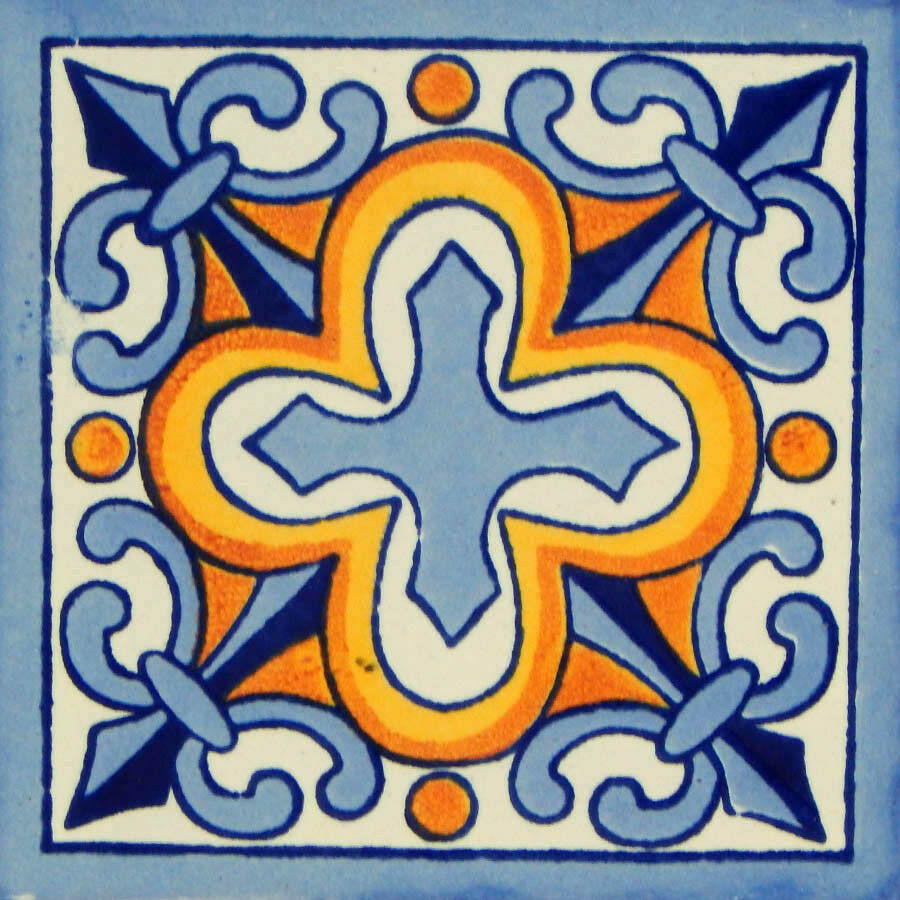 100 Mexican Talavera tiles 4x4 Decorative Folk Art Handmade C150