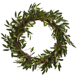 """Nearly Natural 4773 20in. Olive Wreath,Green,22"""" x 22"""" x 6"""""""