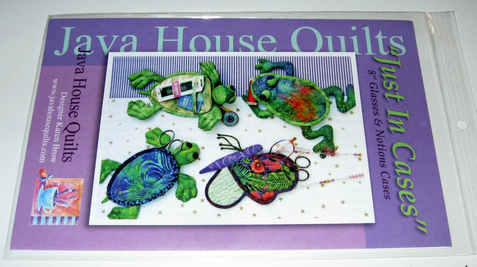 Frog /& Butterfly~Java House Quilts Pattern Glasses /& Notions Cases~Turtle