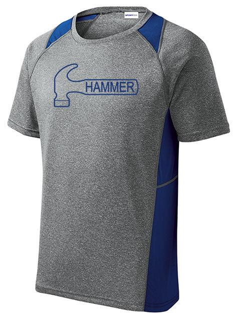 Hammer Men's Knight Performance Bowling Shirt Heather Royal bluee