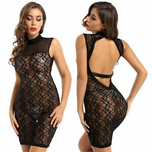 Womens See-through Floral Lace Backless Mini Dress Bodycon Sexy Party Club Wear