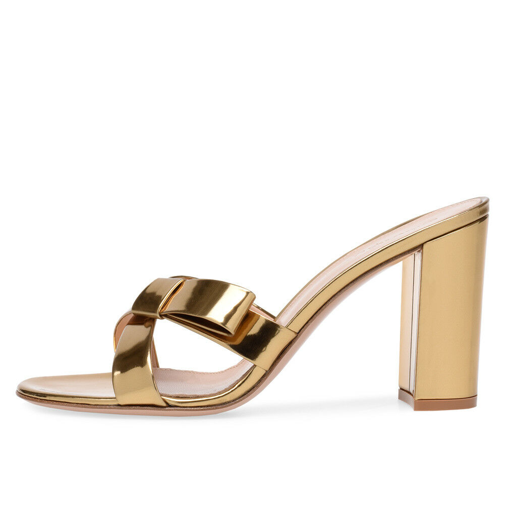 Women Gold Patent Leather Block High Heel Mules Cross Tied Knotted Sandals Shoes