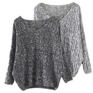 f9180ea7e5569 Women s Hollow Out Bat Long Sleeve Loose V Neck Sweater Jumper ...