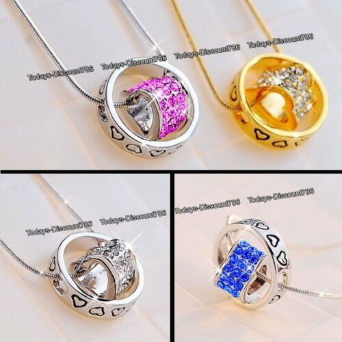 XMAS DEALS Silver /& Gold Heart Ring Necklaces Love Gifts For Her Wife Lady Women