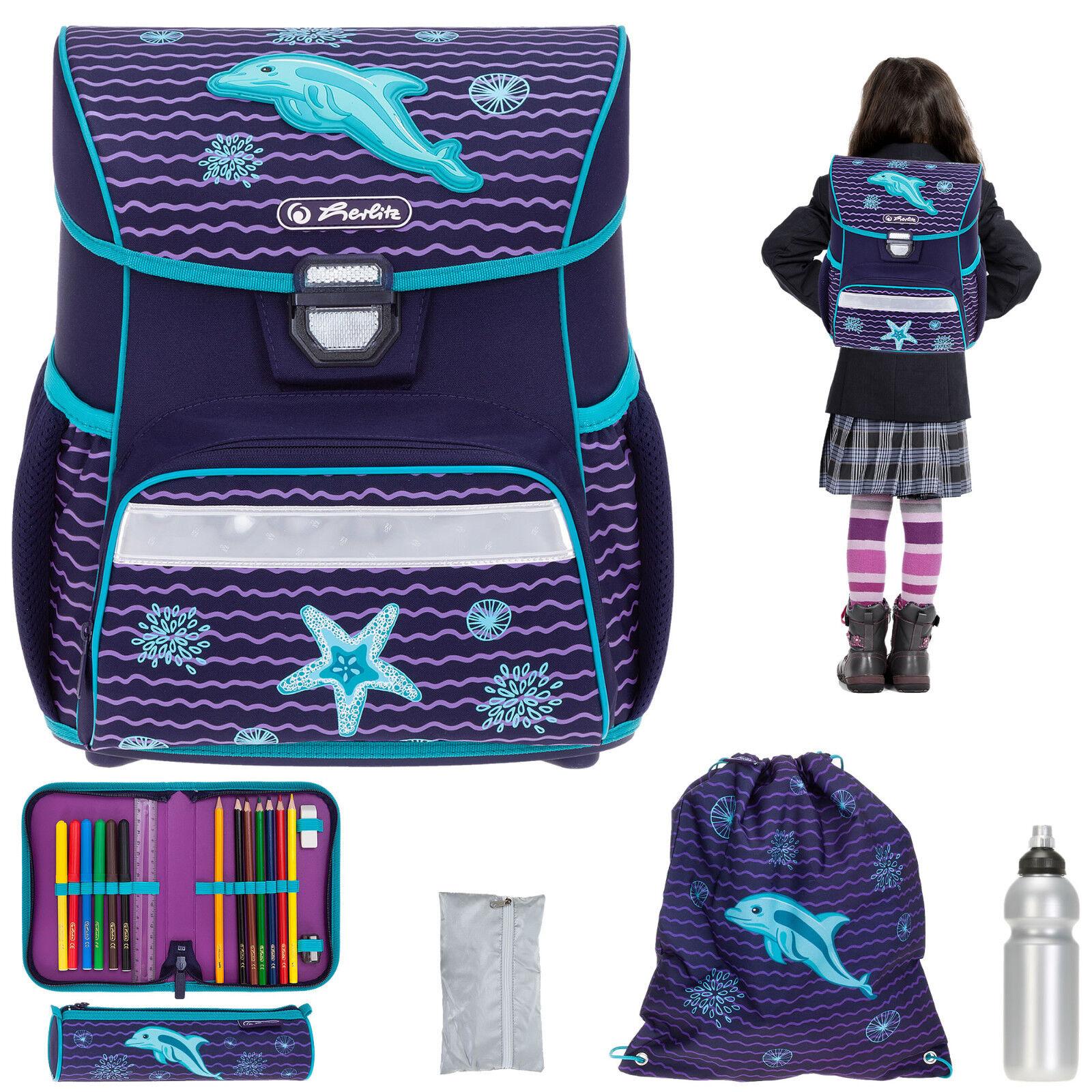Schulmappe 6T Herlitz Loop Plus Ranzen Mädchen Schultornister Delfin Dolphin rf | Starker Wert  | Angenehmes Aussehen  | Praktisch Und Wirtschaftlich