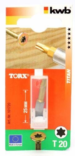 """Titan Schraubendreher-Bit Torx 1//4/"""" Biteinsatz T10 T15 T20 T25 T30 T40 KWB Bits"""