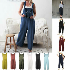 Dungarees Strap Overalls Harem Trouser Women Baggy Casual Rompers Jumpsuit