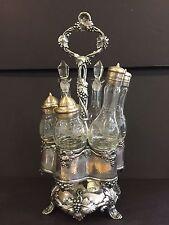 Victorian Ornate Silverplate Castor Set Cut Glass Cruets Grapes Ivy