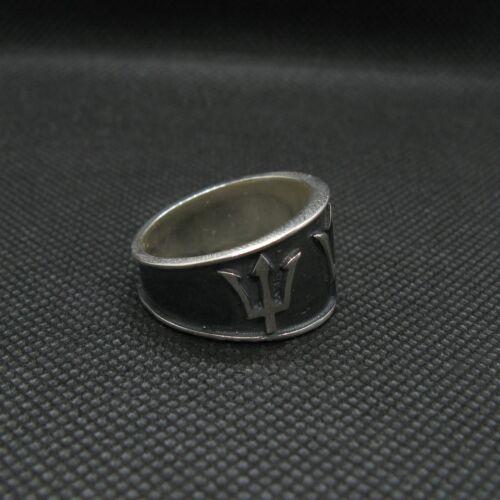 Sterling Silber Ring Band Poseidon Symbol Dreizack Massiv Echt Punziert 925