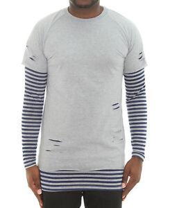 9bac83b4d51 Bleecker & Mercer Men's Stripe Layered Ripped Long Sleeve T Shirt   eBay