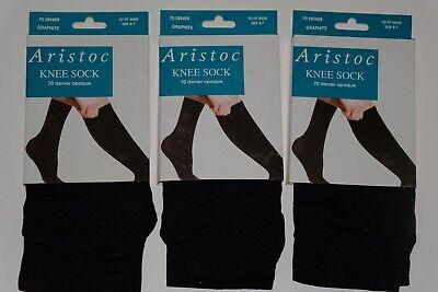 ** 3 Paia ** Aristoc Ginocchio Sock Calzino (pop) 70 Denari Opaco Grigio Scuro Scarpa Sixe 4-7-mostra Il Titolo Originale Merci Di Alta Qualità