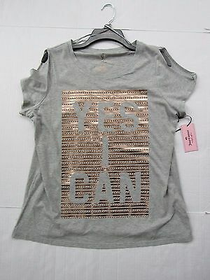 NWT Women Juicy Couture Graphic Twist Tee Color Gray Size Large
