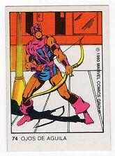 1980 Spanish Marvel Comics Superhero Terrabusi Trade Card  - #74 - Hawkeye