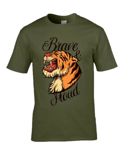"""Traditional Tattoo Tiger /""""Brave /& Proud/"""" T-Shirt Available in M//F//Y Sizes"""