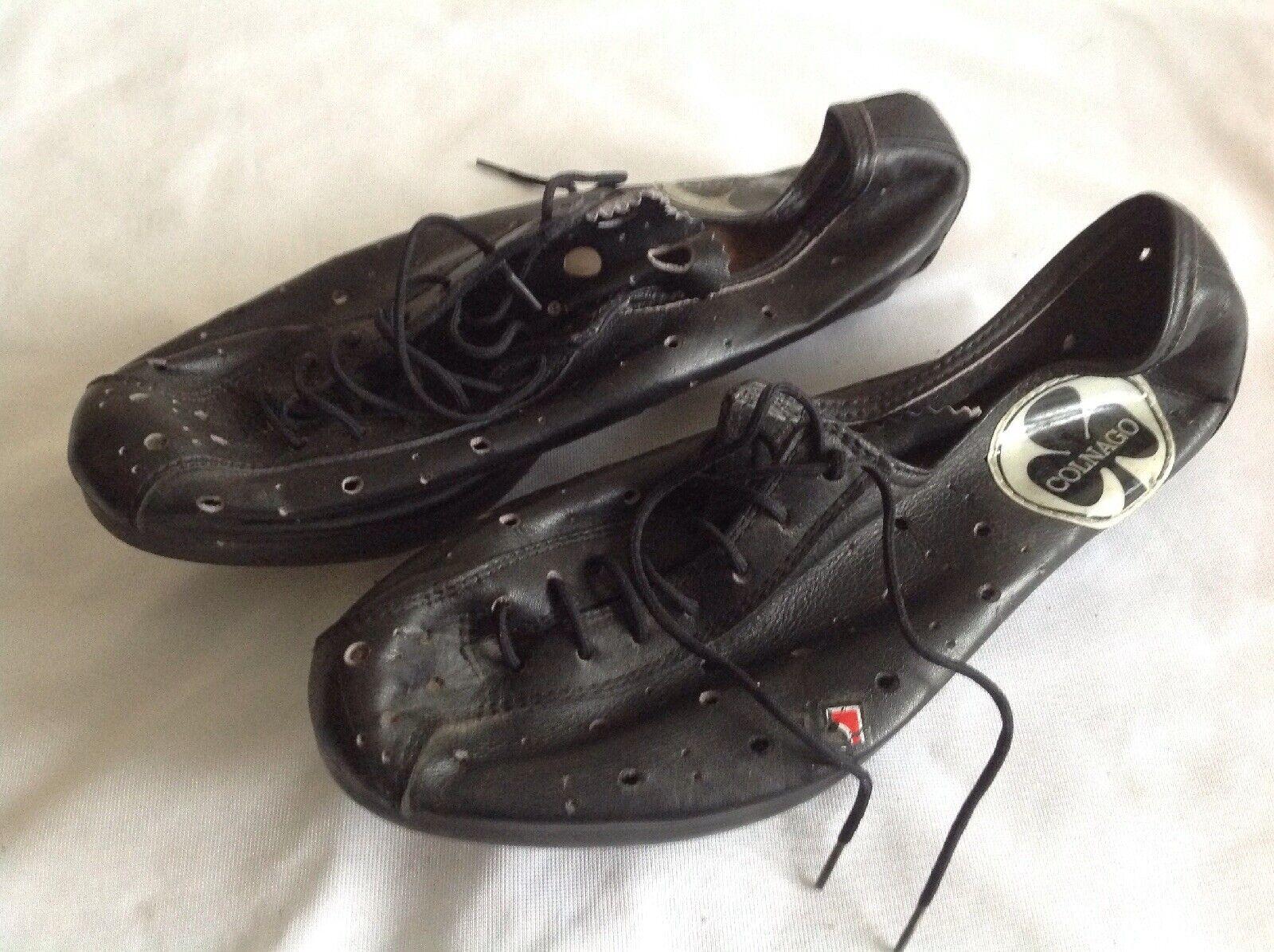 Colnago-Negro y menor de cuero vintage ciclismo zapatos talla 40 EUR nos