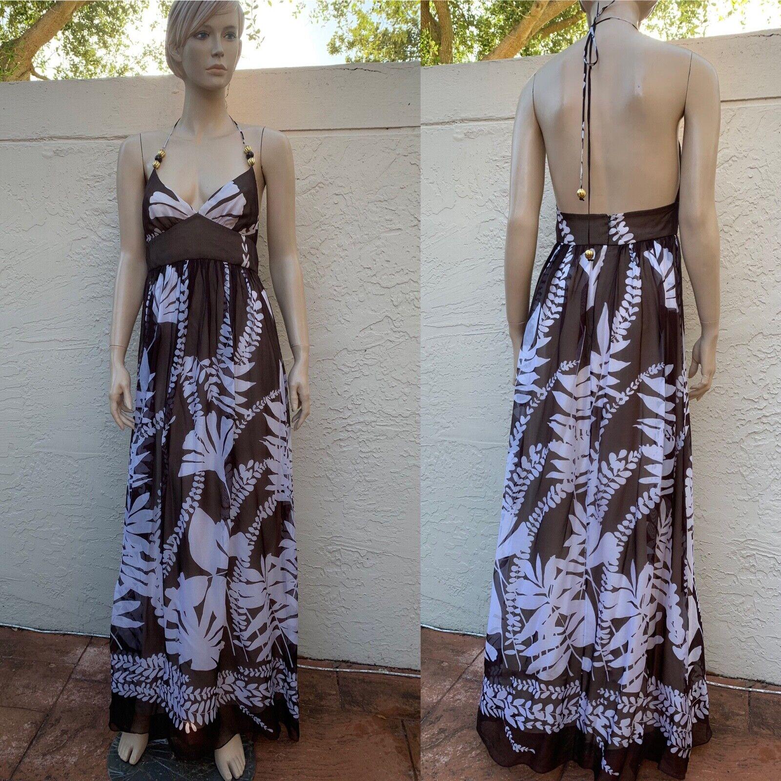 MILLY  magnífico Maxi Vestido Halter Floral 100% seda Talla 6  el estilo clásico