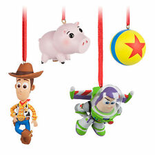 Disney Store Toy Story 4pc Christmas Ornament Set Woody Buzz Hamm Pixar Ball NIB