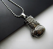 Stainless Steel  Boxing glove Men's Fight Warrior Necklace Pendant Chain Free
