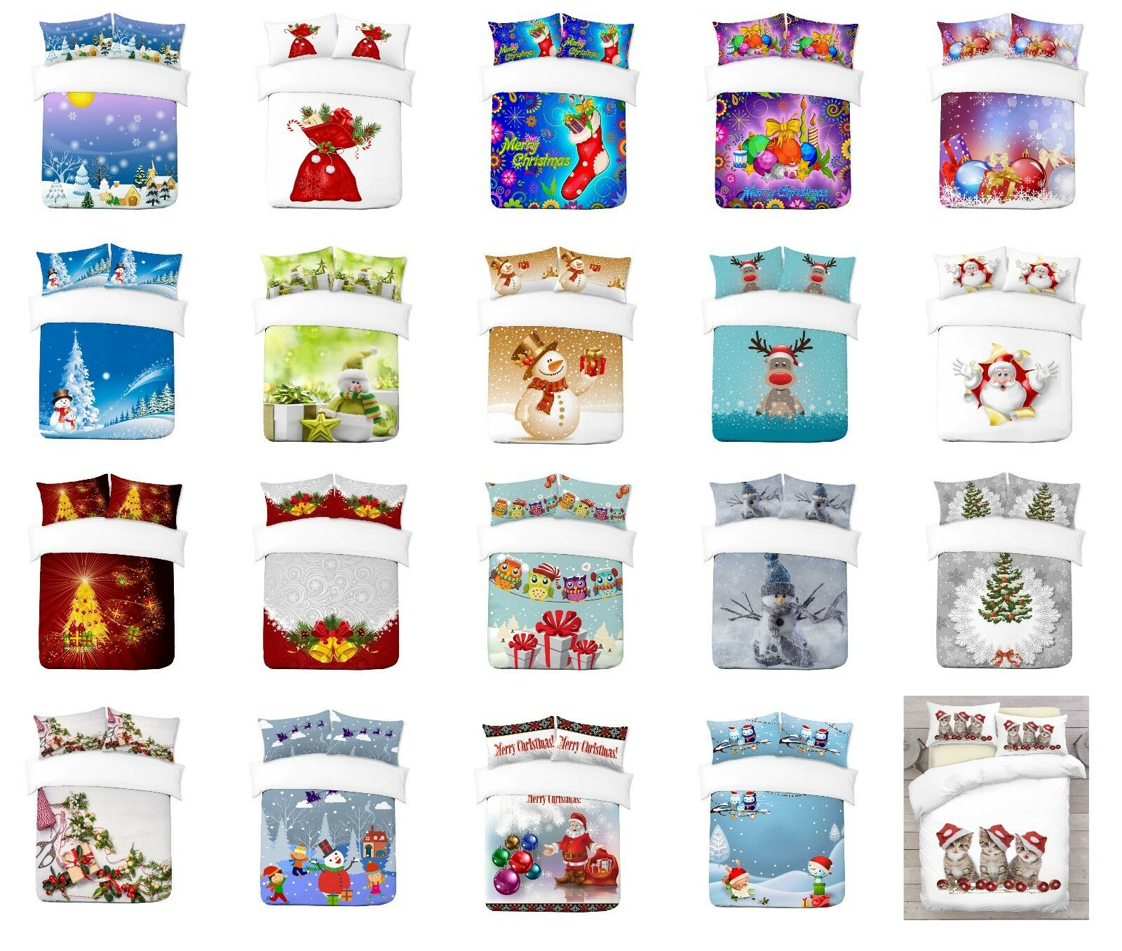 UK Made 3D Christmas Design Digital Photo Drucken Duvet Quilt Startseite or Blanket