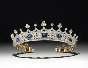 Yellow-Plated-Tiara-Royal-Crown-Blue-Asscher-Stone-Wedding-Women-In-925-Silver