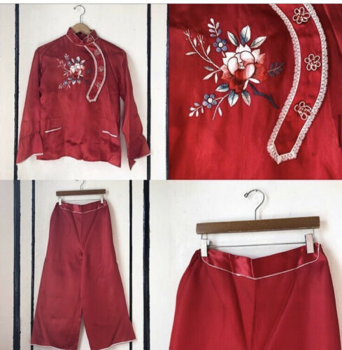 Vintage 1940s/50s Red Satin Embroidered Chinese Pa