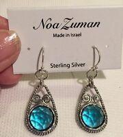 Noa Zuman Israel 925 Sterling Silver Earrings Blue Topaz Quartz