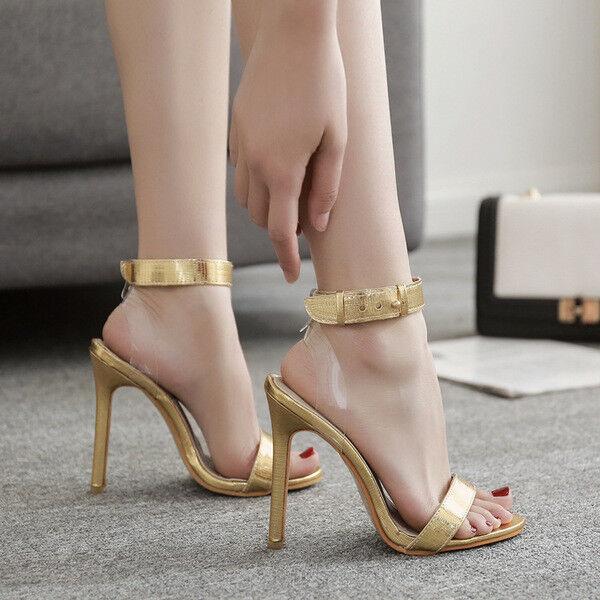 Sandale stiletto spillo 12 cm oro trasparente simil pelle comodi eleganti  1186