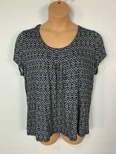 Femme-Marks-amp-Spencer-motif-bleu-a-manches-courtes-stretch-T-Shirt-Grande-Taille-UK-22